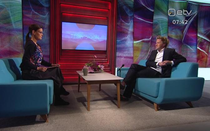 Marten Kaevats on ETV's morning show Terevisioon in 2019.