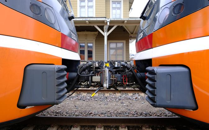 Elron trains at Tartu Railway Station.