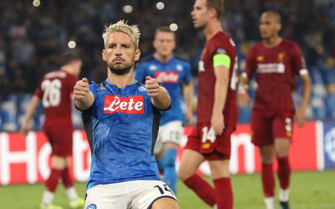 Napoli ründaja Dries Mertens väravat tähistamas
