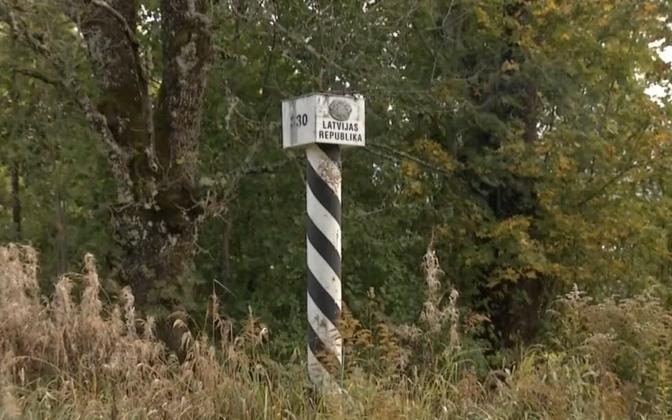 Border marker at Latvia's border with Estonia.