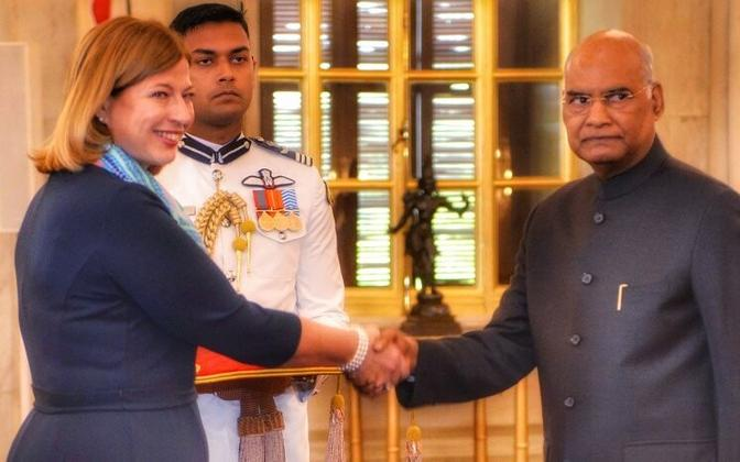 New Estonian Ambassador to India presents her credentials to Indian President Ram Nath Kovind on Wednesday.