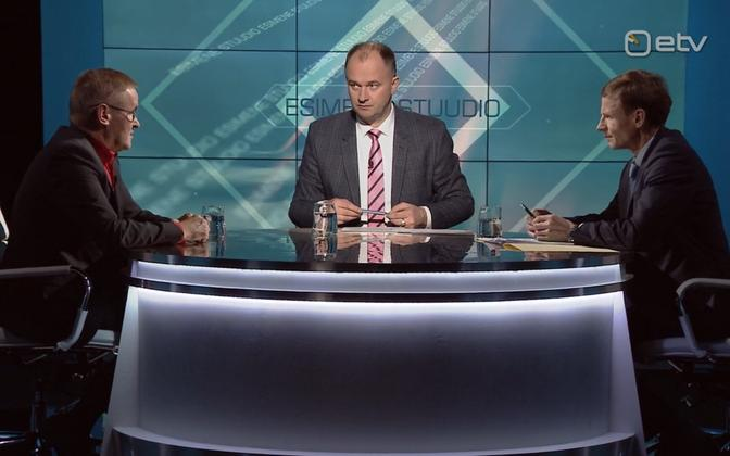 Jaak Aab (left) and Aivar Sõerd on Thursday's Esimene stuudio with ERR's Andres Kuusk in the chair.