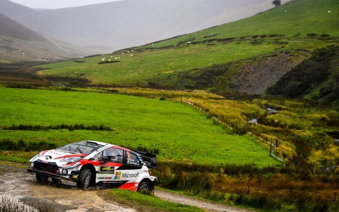 Ott Tänak and Martin Järveoja in action in Rally Wales.