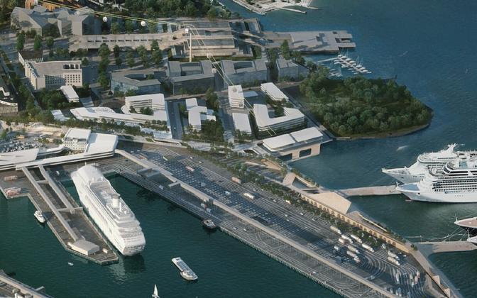 Artist's impression of proposed plans for Tallinn harbor's terminal A redevelopment.