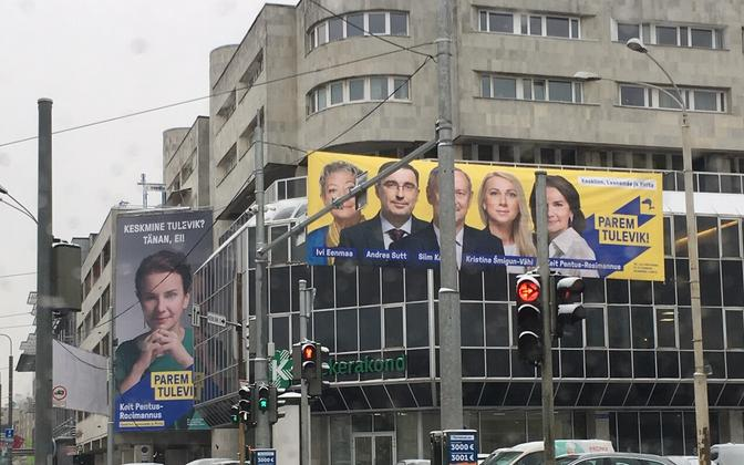 Reform Party electoral adverts close to the Center Party headquarters in Tallinn, in early 2019.