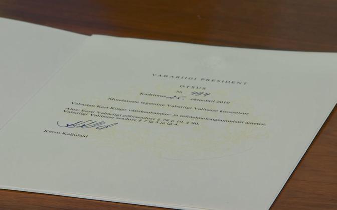 Presidential decree releasing Kert Kingo from office, signed by Kersti Kaljulaid.