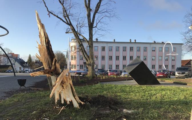 Storm damage in Võru.