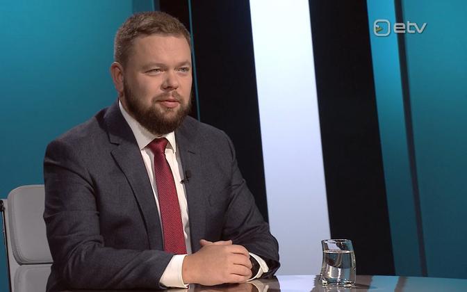 Kaimar Karu appearing on ETV politics show 'Esimene stuudio' in 2019.