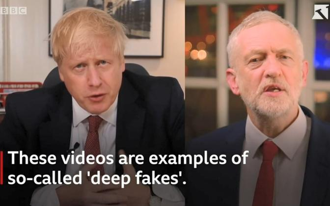 Boris Johnson ja Jeremy Corbyn deep fake võltsvideos.