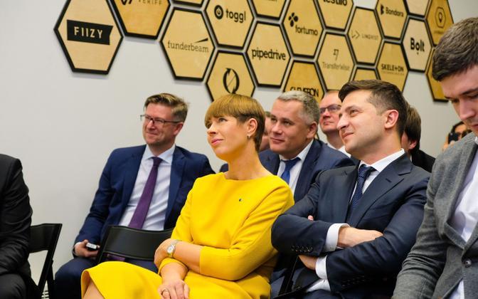 President Kersti Kaljulaid and President of Ukraine Volodymyr Zelensky at the Digital Society Sandbox launch in Tallinn.