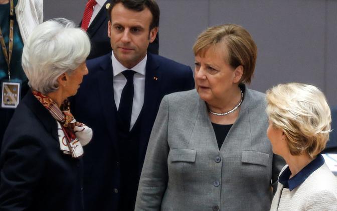 Christine Lagarde, Emmanuel Macron, Angela Merkel, Ursula von der Leyen.
