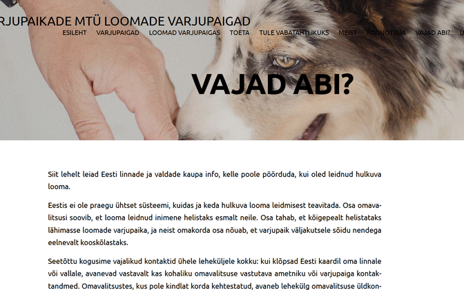 Uus veebikülg hulkuvatele loomadele abi kutsumiseks