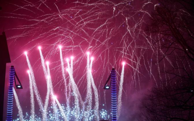 New Year's fireworks at Vabaduse väljak in Tallinn. January 1, 2019.