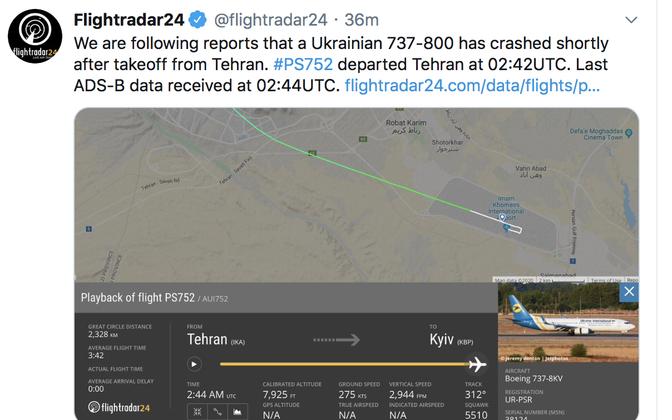 Flightradari tviit Teherani lähedal alla kukkunud Ukraina lennukist.