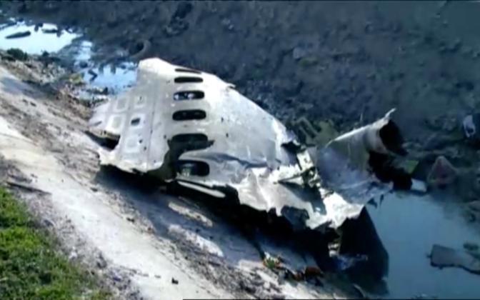 Wreckage from Wednesday's Ukrainian International Airlines plane crash in Tehran.