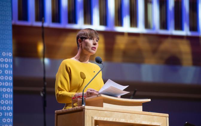 President Kersti Kaljulaid Tartu rahu 100. aastapäeva tähistamisel.