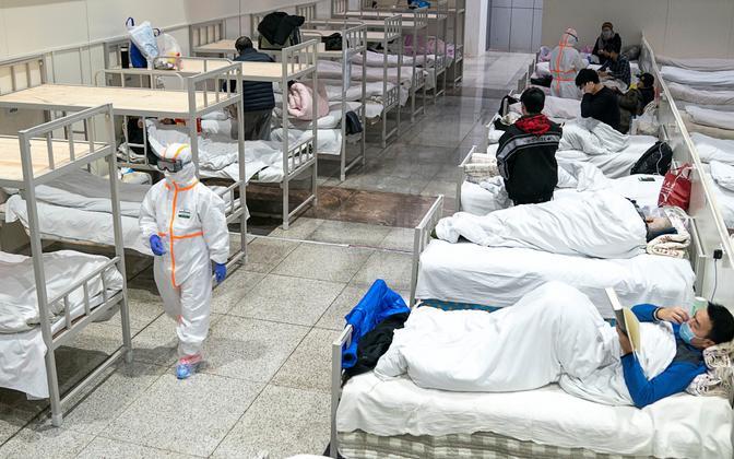 Wuhani konverentsikeskus, mis on ajutiselt haiglaks muudetud.