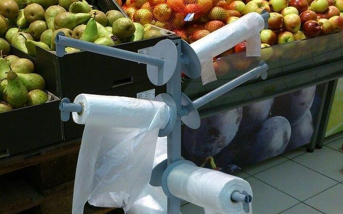 Thinner produce bags at an Estonian store.