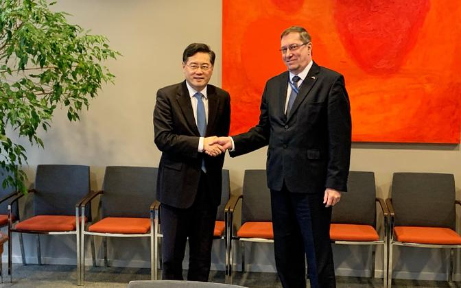 China's Vice Minister of Foreign Affairs Qin Gang meeting Undersecretary for Economic and Development Affairs Andres Rundu in Tallinn on Monday.