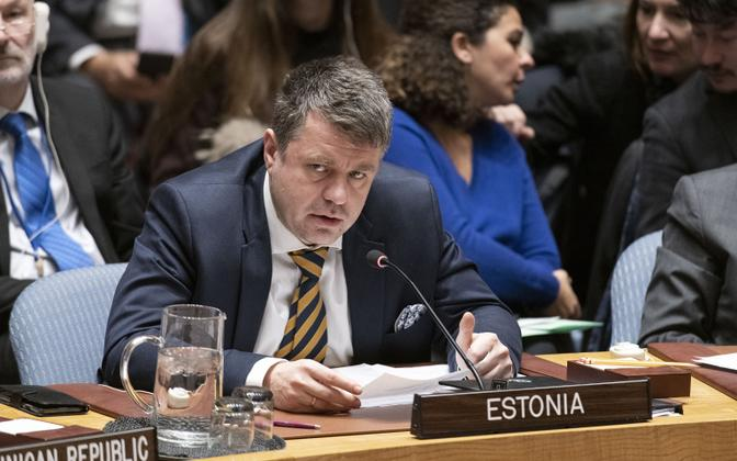 Urmas Reinsalu at the UN Security Council in New York earlier this month.