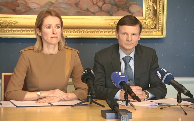 Kaja Kallas and Aivar Sõerd (Reform) at a press conference.