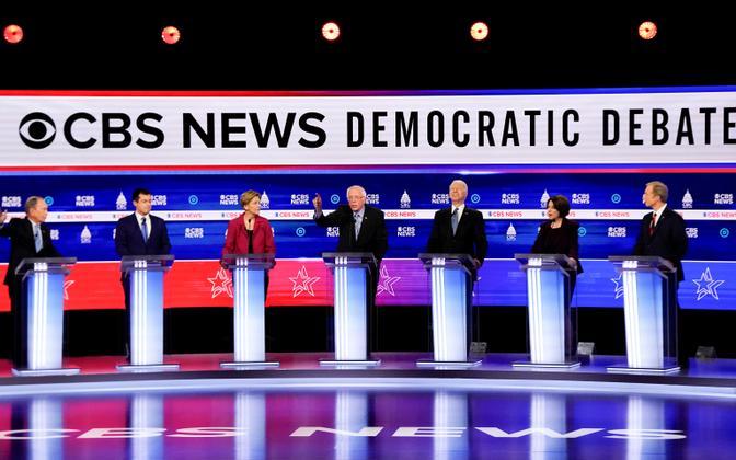 Participants in the tenth Democratic 2020 presidential debate in Charleston, South Carolina. February 25, 2020. L-R: Bloomberg, Buttigieg, Warren, Sanders, Biden, Klobuchar, Steyer.