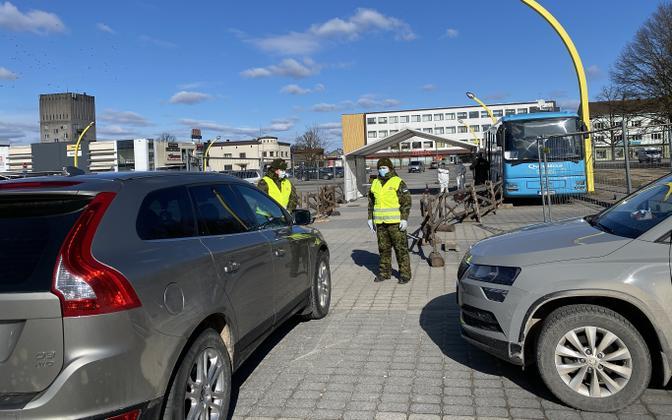 Coronavirus drive-in testing site in Viljandi.