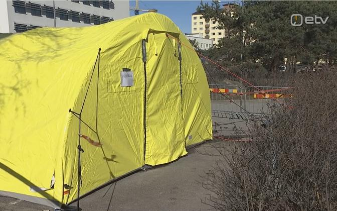 Medical tent set up outside of PERH.