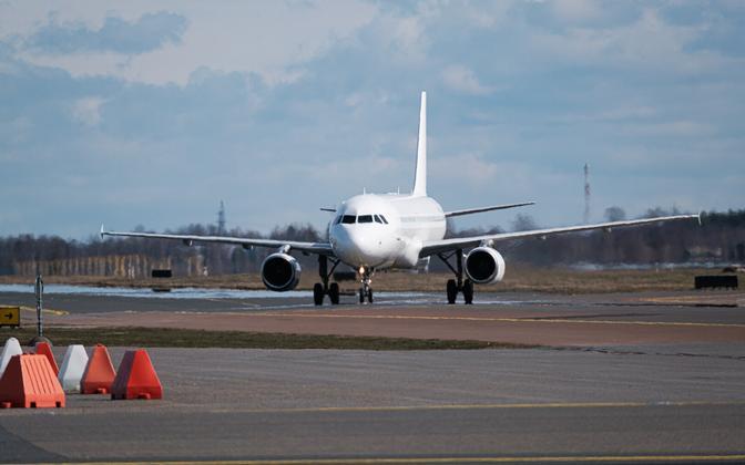 Plane on Tallinn Airport runway.