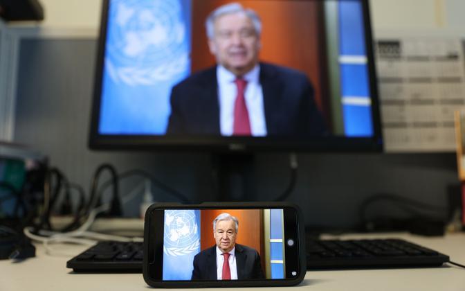 ÜRO peasekretär Antonio Guterres veebipressikonverentsil oma rahuinitsiatiivi tutvustamas.