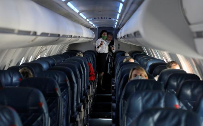 Delta Airlinesi lennuki salong.