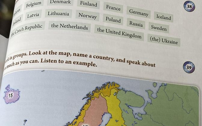 Напечатанная в учебнике карта, из которой следует, что Крым - это часть России.