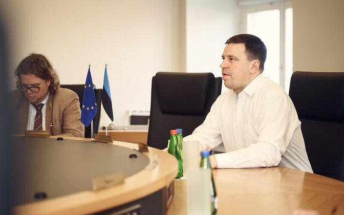 Jüri Ratas at Wednesday evening's video-linked meeting with his Latvian and LIthuanian counterparts.