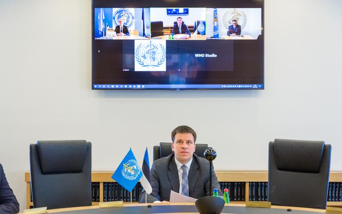 Prime Minister Jüri Ratas speaking to WHO by video conference.
