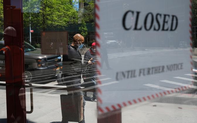Koroonakriisi tõttu suletud ettevõtte uks.