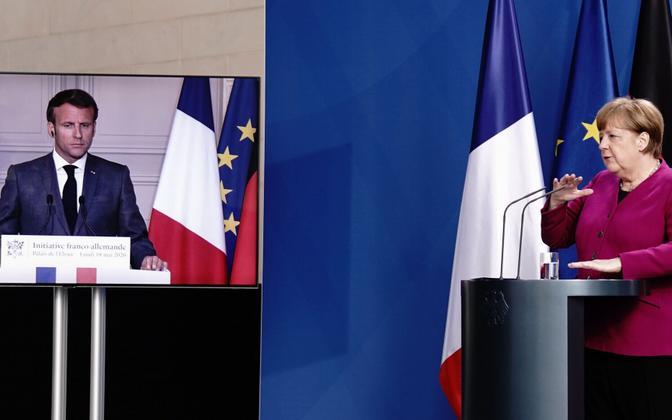 Angela Merkel ja Emmanuel Macron andsid videosilla abil ühise pressikonverentsi.