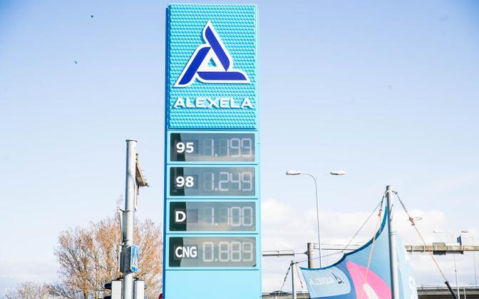 Alexela filling station in late April (diesel has since dropped below a euro per liter).
