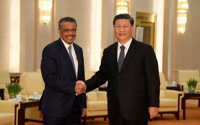 WHO tegevjuht Tedros Adhanom kohtumisel Hiina presidendi Xi jinpingiga.