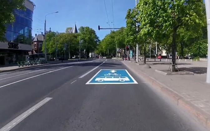 На единой полосе для общественного транспорта и велосипедистов действует ограничение скорости.