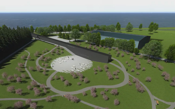Artist's impression of the planned training hall, upper building in the picture. The existing memorial in Maarjamäe is in the center.