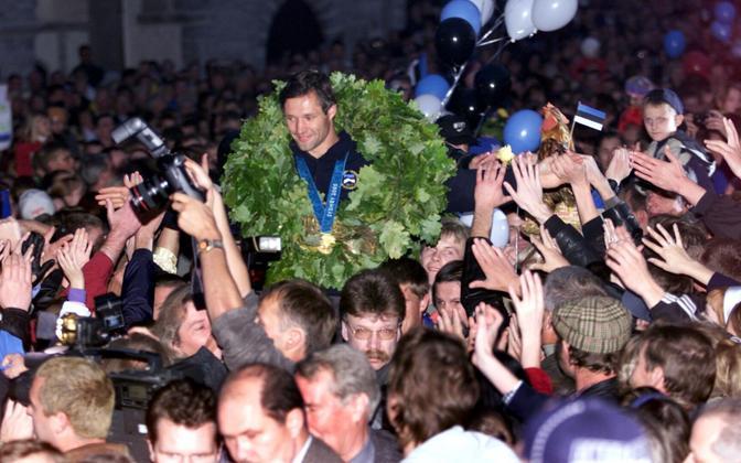 Olümpiavõitja Erki Noole vastuvõtt 2000. aastal.