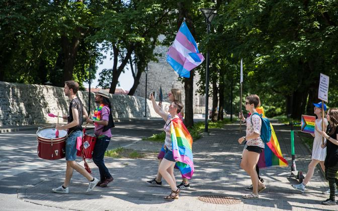 People taking part in Baltic Pride 2020 in Tallinn.