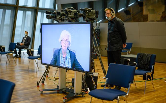 Euroopa keskpanga president Christine Lagarde pressikonverentsil.