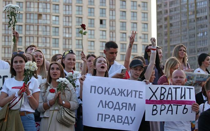 Meeleavaldajad Minskis.