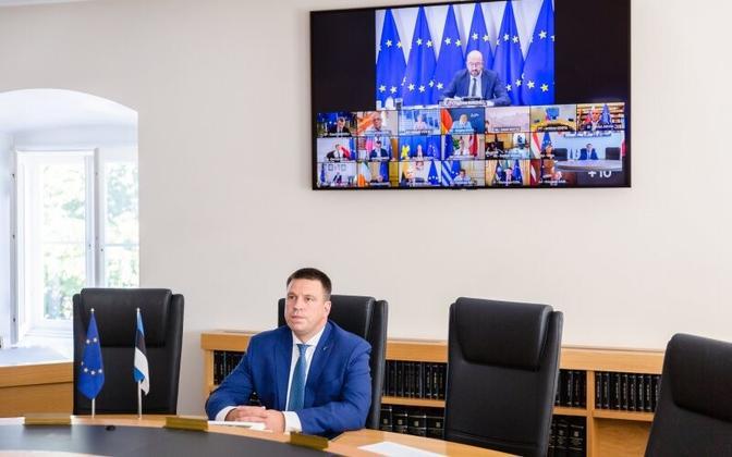 Prime Minister Jüri Ratas during an EU video meeting.