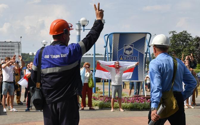 Grodno Azoti tehase töölised alustasid Valgevene võimude survestamiseks streiki.