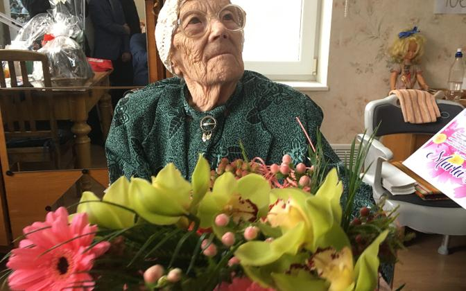 Ms Marta Kivi, celebrating her 107th birthday in 2019.