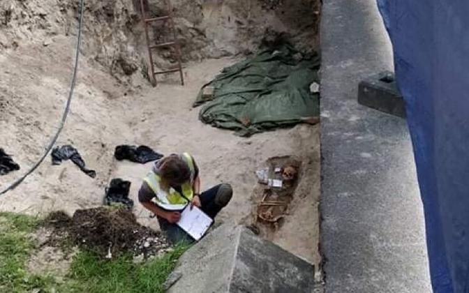 A skeleton found by the Kazan Church.
