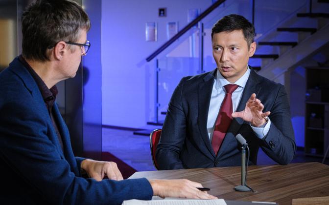 Mayor of Tallinn Mihhail Kõlvart speaking on ERR's online broadcast