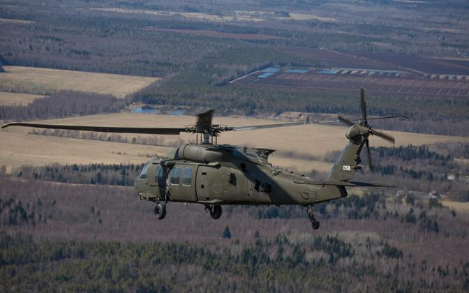 A Sikorsky UH-60 Black Hawk in flight over Estonia, in an undated photo.